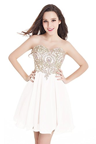 Women Homecoming Dress V-Neck Mini Chiffon Evening Gowns with Applique White,10