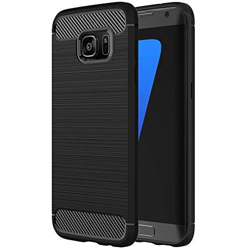 ebestStar - kompatibel mit Samsung Galaxy S7 Edge Hülle SM-G935F G935 Kohlenstoff Design Schutzhülle, TPU Handyhülle Flex Silikon Hülle, Schwarz [Phone: 150.9 x 72.6 x 7.7mm, 5.5'']