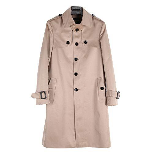 MERRYHE Herren Single Breasted Mantel Trenchcoats Klassische Lange Jacke Cabrio Kragen Topcoats Winddichte Oberbekleidung,Khaki-XS(Bust/96cm)
