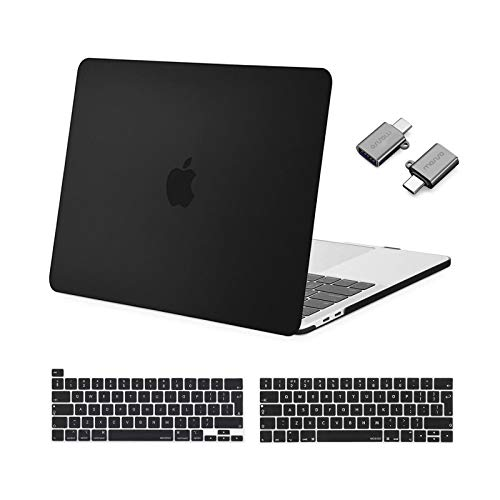 MOSISO MacBook Pro 13 inch Case 2016-2021 Release A2338 M1 A2289 A2251 A2159 A1989 A1706 A1708, Plastic Hard Shell &Keyboard Cover &Type C Adapter Compatible with MacBook Pro 13 inch, Black