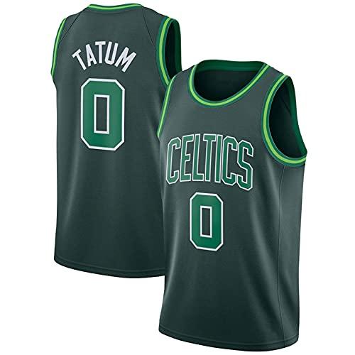 XGYD # 0 Tatum Männer Basketball Jersey, 2021 Saison Sporttraining Kleidung Stickerei T-Shirt, Casual Mesh Atmungsaktive Schnelltrocknung Weste Green-L