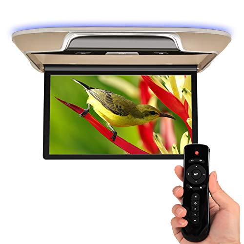 Car Overhead Flip Down Monitor 13' Android 8.1 with WiFi, Ultra-Thin Ceiling Video Player IPS LCD Screen Roof Mount TV Built-in Dual Stereo Speaker, Support Bluetooth, FM, HDMI in, USB, AV in- Beige
