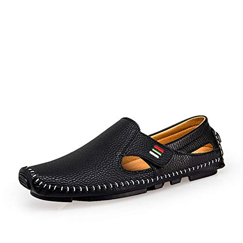 Plus Size 37-47 Men Leather Loafers Sandals Spring Summer Footwear Casual Man Slip-on Driving Shoes,Black,40