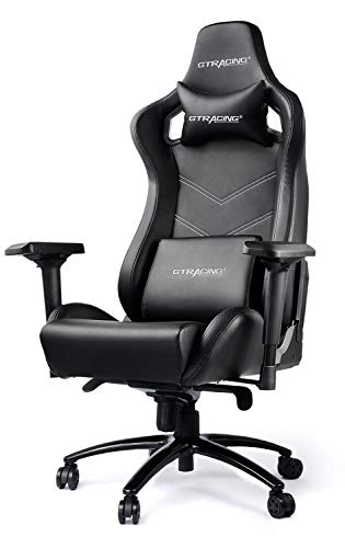 Gtracing Luxury Gaming Chair Big and Tall 400 lbs, Recliner, Swivel, Tilt, 4D Armrests, High Backrest, Rocker & Seat Height Adjustment Mechanisms (Black)