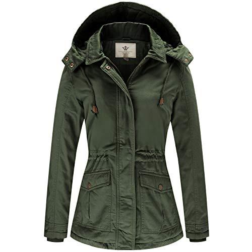 WenVen Women's Winter Windproof Warm Military Jacket with Hood(Green, M)