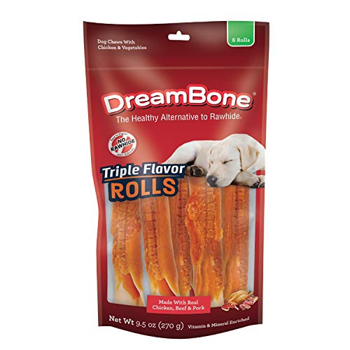 DreamBone Triple Flavor Rolls 6 Count, Rawhide-Free Chews for Dogs