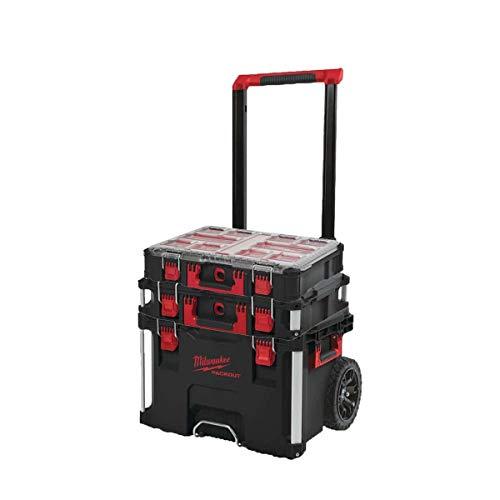 MILWAUKEE PACKOUT Trolley Carry Case - Carry Case 40L Tamaño 2 - Organizador 10 armarios gruesos