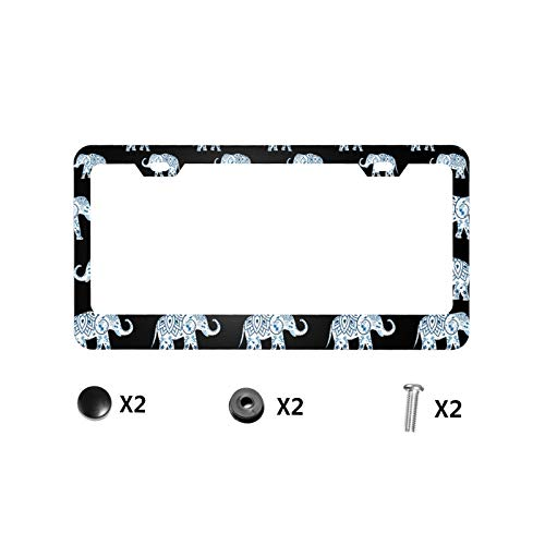 Blue Elephant License Plate Frame Quality Aluminum Custom License Plate Cover 2 Holes for US Standard Vehicles