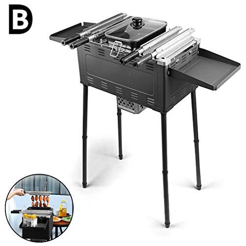 B-D Barbecue Démontable De Table, Portable Barbecue Pliable Barbecue À Charbon en Acier Inoxydable Barbecue Grill pour Pique-Nique Multifonction Antiadhésif Non-Fumeur avec Poignée