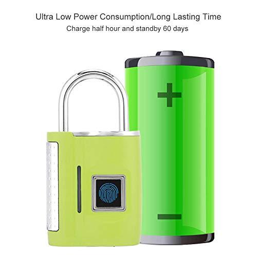 SHYEKYO Cerradura TSA, Cerradura de Huellas Dactilares Material de aleación de Zinc para Cerradura The Secret Guard The Door(Green)