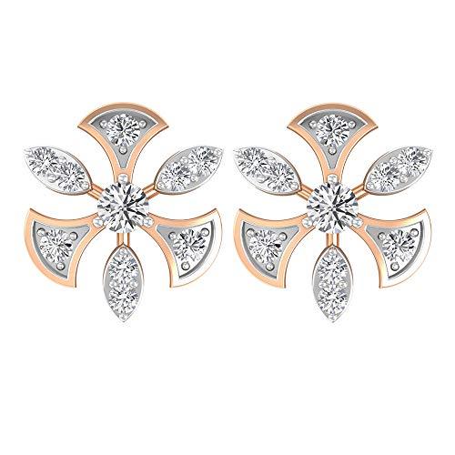 0,19 Karat SGL Certified Diamond Gold Hochzeit Ohrring, Statement Frauen Partywear Ohrring, Diamant Blume Braut Ohrring, Antik Arbeitskleidung Ohrstecker, 14K Roségold, Paar