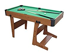"""4' 6"""" folding pool table folds for easy storage 1 set of 38mm balls supplied plus 2pcs 92cm cues, triangle, brush and 2 pcs chalk """"4' 6"""""""" folding pool table"""" folds for easy storage 1 set of 38mm balls supplied plus 2pcs 92cm cues, triangle, brush and..."""
