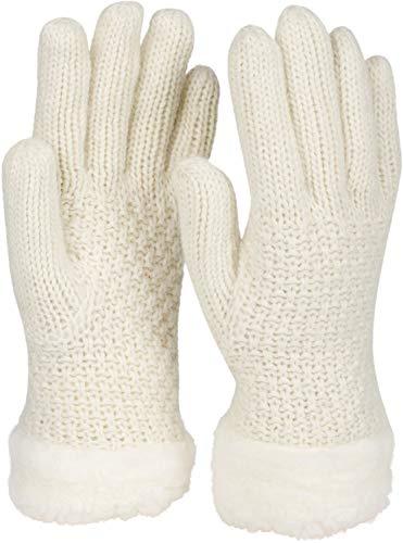 styleBREAKER Damen warme Winter Handschuhe mit Perlmuster und Fleece, Thermo Strickhandschuhe, Fingerhandschuhe 09010032, Farbe:Creme-Weiß