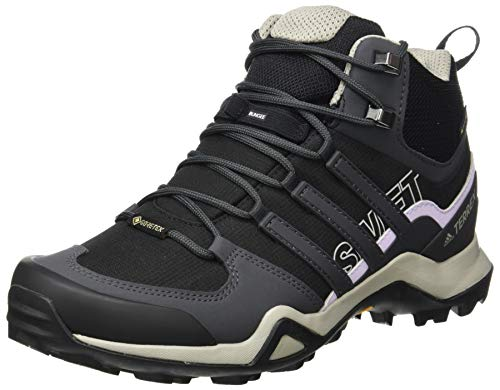 adidas Womens Terrex Swift R2 Mid GTX Walking Shoe, Core Black/Solid Grey/Purple Tint, 38 2/3 EU