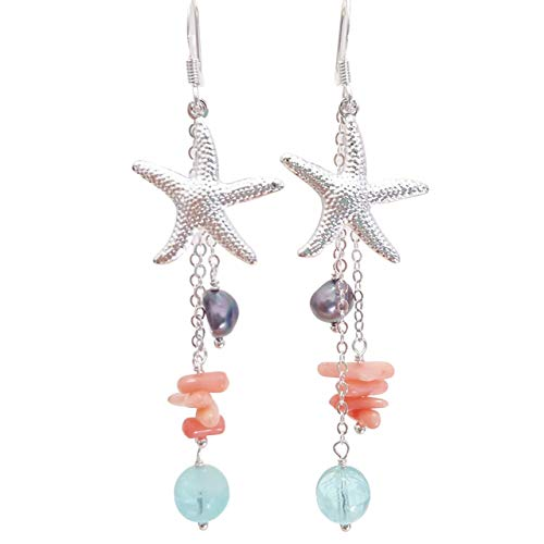 Starfish, pink coral, aqua glass, freshwater pearl earrings in silver- hypoallergenic for sensitive skin, Handmade in Hawaii Beach Jewelry Signature Line