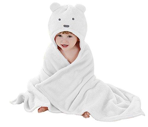Peignoir de Bain à Capuche Animaux/Serviette de Bain avec Chapeau Bébé 100 * 100/ Serviette Drap de Bain Bebe Panda (0-2 Ans) (Blanc)