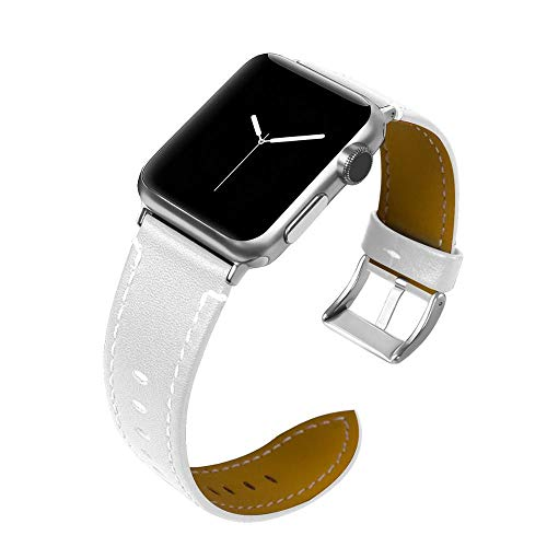 Pulseira de Couro para Apple Watch 40mm e 38mm Series 1 2 3 4 5 - Marca Ltimports (Branco)