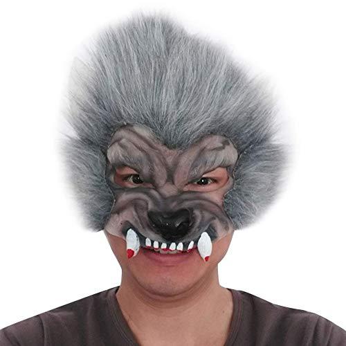 LZRDZSWCW Halloween Wolf Kopf Tiermaske, die Hälfte Gesicht Horror Teufel Erwachsene Lustige Requisiten Tierkopfbedeckung, Feiertags-Dekoration Cosplay Zubehör Karnevalsmaske, gruselig