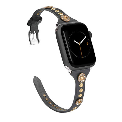 Glebo Correa de reloj de piel compatible con Apple Watch 42mm 44mm para mujer y niña, fina correa de piel Apple Watch SE con remaches Bling de repuesto para Iwatch Series 6 5 4 3 2 1, negro