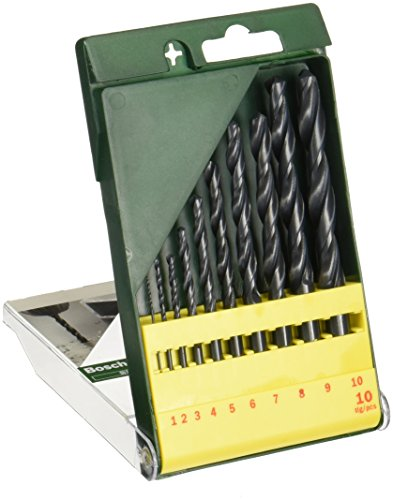 Bosch 2607019442 10 Piece Metal HSS-R Drill Bit Set, Black