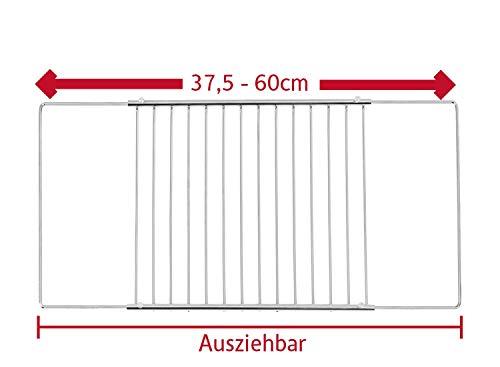 ICQN Einstellbar Universal-Backofenrost | Backofengitter | Ofengitter | ausziehbar von 37,5-60 cm und 32 cm Tiefe | Backgitter Grillrost für Backofen | Verchromt | Minimale 375mm, Maximale 600 mm