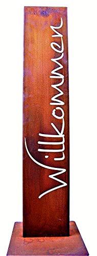 Rostikal | Willkommen Schild | Garten Stele | Edelrost Gartendekoration auf Bodenplatte | Rostoptik 100 cm
