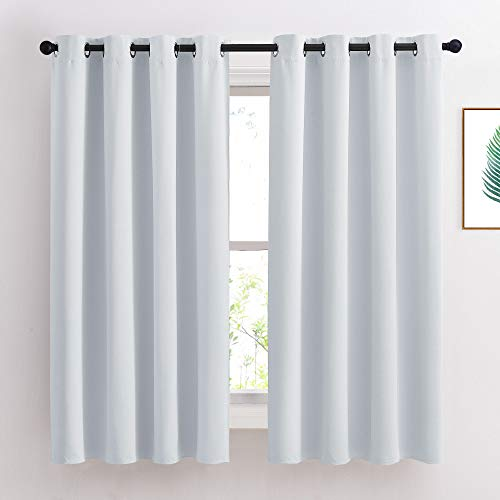NICETOWN Greyish White Room Darkening Curtain Panels - Window Treatment Thermal Insulated Grommet Room Darkening Curtains/Panels/Drapes for Bedroom (2 Panels, 52 by 63, Greyish White)