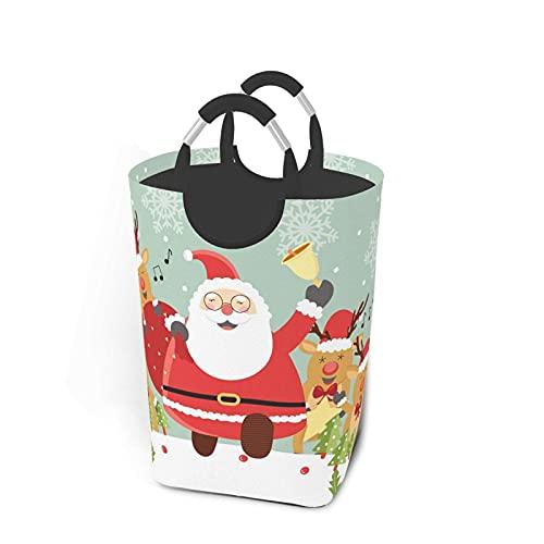 VLKFK Cesta de lavandería de 50L Cesta de lavandería de Papá Noel de Navidad Bolsa de Ropa Sucia con Asas Papelera de Lavado