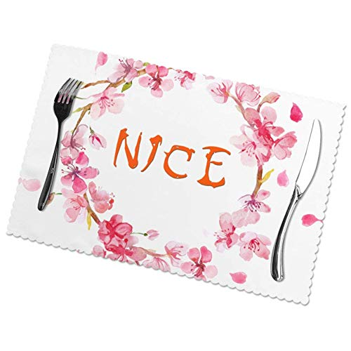 Garlands Nice Flowers Print Placemats, Set of 6, Easy to Clean, Heat Resistant, Stain Resistant Polyester Material Placemats