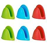 MengH-SHOP Guantes de Silicona Cocina Mini Espesa Resistentes al Calor Clip de Mano Antideslizante Multifuncionales Horno Guantes Accesorios 3 Pares (3 Colores)