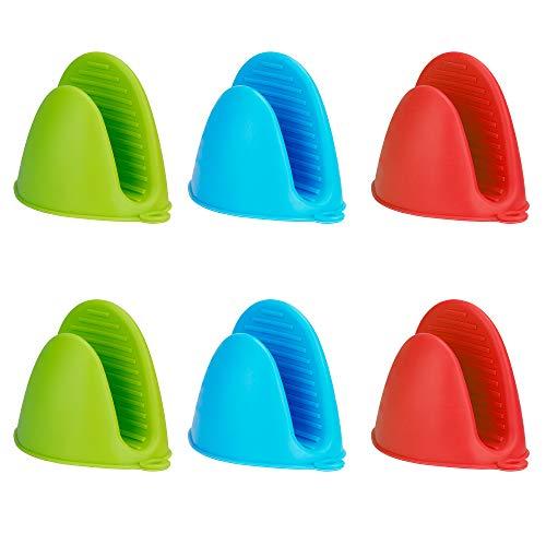 MengH-SHOP Mini-Ofenhandschuh Silikonofen Verdicken Topflappenhandschuhe Silikon Topflappen Ofen Hitzebeständig Handschuhe für Küche Kochen Backen 3 Paare (3 Farben)