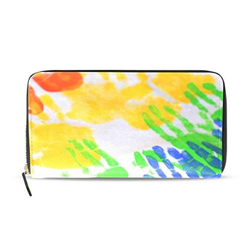 Womens Wallets Bunte Handabdrücke auf Tischdecke Leder Passport Wallet Portemonnaie Zip Handtaschen