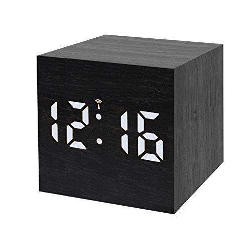 Bresser Funkwecker MyTime WAC mit Holz Optik Kunststoffgehäuse, Uhrzeit-, Datum- und Temperatur-Anzeige, Weckfunktion, Netz- oder Batteriebetrieb, schwarz mit weißer LED