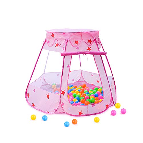 Pop Up Pink Princess Play Tent, Foldable Pretend Playhouse Ball Pit Indoor & Outdoor