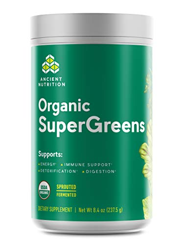 Ancient Nutrition Organic SuperGreens - Digestive Enzymes, Fermented Foods, 2 Billion CFU Probiotic Blend, USDA Certified Organic, Peppermint Flavor, 8.4oz…