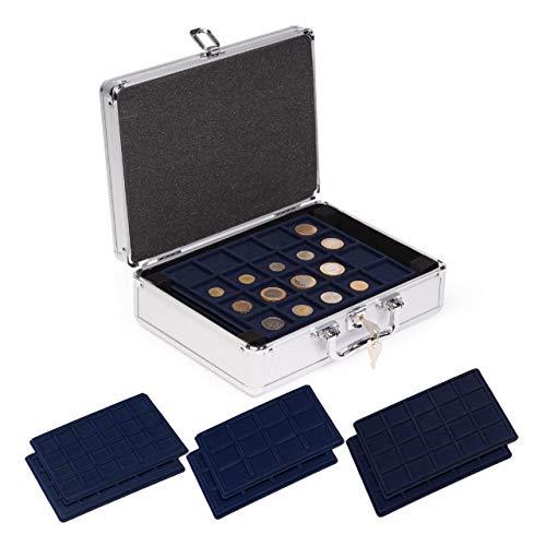 Koffer van aluminium voor munten met verschillende diameters – inclusief 6 verschillende tabletten – ideale opslag voor muntenverzamelaars.