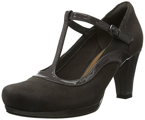 Clarks Damen Chorus Pitch T-Spangen Pumps, Grau (Dark Grey Combi), 39.5 EU