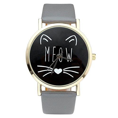 'jsdde Relojes, Vintage Mujer Reloj Cute Gato 'Meow Diseño reloj de pulsera mujer Reloj Faux piel banda analógico de cuarzo reloj, Gris