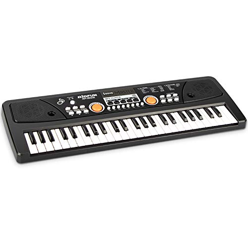 BIGFUN Keyboard Piano, 49 Keys Kids Piano Keyboard with Double Built-in Speaker, Microphone and Power Supply, Music Keyboard Early Learning Educational Toy Birthday Xmas Day Gifts for Kids (Black)