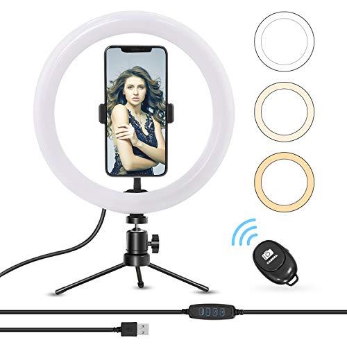 Anillo de luz, Earsun Aro de luz para Movil con Trípode y Control Remoto Bluetooth, 3 Modos de luz Regulables & 8 Niveles de Brillo para TIK Tok, Maquillaje, Transmisión en Vivo, Vlog, Fotografía