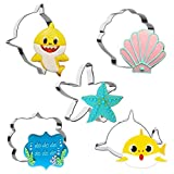 5 Pieces Baby Shark Cookie Cutter Set Shark Starfish Seashell Shark Head and Plaques Shapes 4in Large Fondant Molds Cutters for Kids Birthday Party Making Muffins, Biscuits, Sandwiches, Etc.