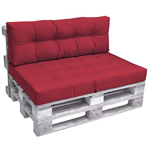 Beautissu Palettenkissen Premium Rückenkissen 120x40x10 cm – ECO Elements Rückenkissen für Europaletten Palettenmöbel - Palettenpolster in Rot