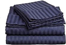 Tula Linen Juego de sábanas de 1000 Hilos, 4 Piezas Rayas tamaño tamaño de Bolsillo de 44cm Material 100% de algodón Egipcio (UK Super King 180cm x 200cm, Azul Marino)