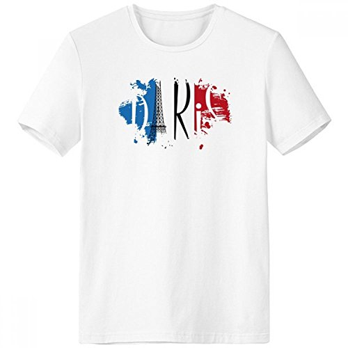 DIYthinker Bandera Nacional de Francia Torre Eiffel Landmark Arquitectura del Paisaje Personalizado ilustrado Modelo Pincel Escote de la Camiseta Blanca sin Etiquetas Comfort Deportes camise