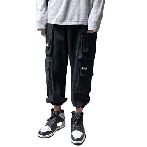 Pantalones Cargo de Pierna Recta para Hombre Color sólido Multibolsillos Cintura elástica Estilo Militar Pantalones de Caza de Campo Ropa para Exteriores Medium