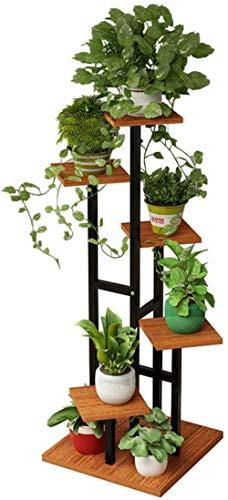 YLongFEI Bloembakhouder voor bloemen, rek, design flora display, zwart frame, eenheid rek voor externe opslag, 6 vaas voor woonkamer, tuin, kantoor 16 inch x 16 inch x 47 inch