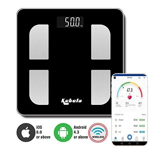 Kabalo Bluetooth Negro de 180 kg de Capacidad electrónica Digital multifunción Cuerpo Grasa composición Agua músculo calorías BMI Analizador, Pilas Incluidas. Báscula de baño Elegante e inalámbrica