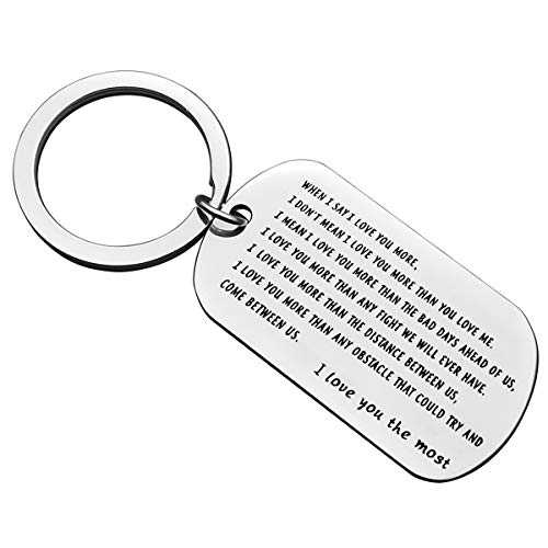 Nekoki Couple Keychain Gifts for Him Boyfriend I Love You the Most Keychain Anniversary Gifts for Him Husband Christmas Birthday Gifts Valentine Day Gifts for Men, Silver, Small