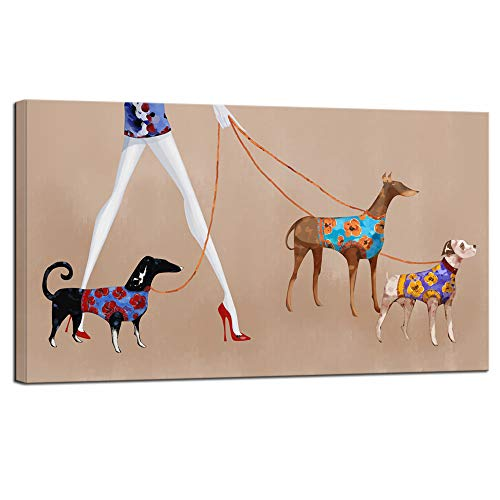 sechars Fashion Poster Wall Decor Lady with Dog Puppy Painting Art Prints on Canvas Elegant Women Girl Photo Canvas Pictures Modern Home Bedroom Decoration Framed Ready to Hang 20x36inches