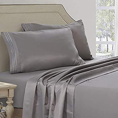Abakan Bed Sheet Set Queen Size Super Soft 4 Piece Bedding Sheet Smooth Microfiber 1800 Thread Count Luxury Premium Cooling Sheets Breathable Fade Resistant Deep Pocket (Queen, Grey)